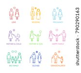 family color thin line icons... | Shutterstock .eps vector #790290163