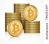 bitcoin golden coins stack ... | Shutterstock .eps vector #790291597