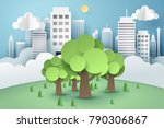 tree surrounded by a buildings  ... | Shutterstock .eps vector #790306867