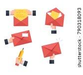 set of envelope postal  hand... | Shutterstock .eps vector #790318093