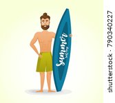 surfer at the beach. vector... | Shutterstock .eps vector #790340227