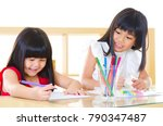 asian kids drawing picture with ... | Shutterstock . vector #790347487