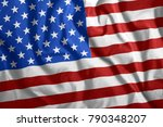 the american  usa flag is... | Shutterstock . vector #790348207
