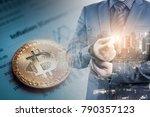 double exposure of businessman... | Shutterstock . vector #790357123