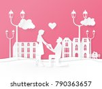 paper art style. valentines... | Shutterstock .eps vector #790363657