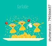pasta on a plate. farfalle... | Shutterstock .eps vector #790366657
