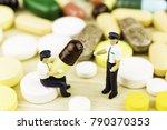 medicine pills or capsules on... | Shutterstock . vector #790370353