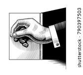 big hand opening a small door.... | Shutterstock . vector #790397503