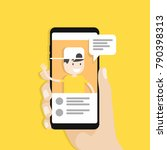 live chat social media. live... | Shutterstock .eps vector #790398313
