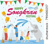songkran festival  banner  thai ... | Shutterstock .eps vector #790400257