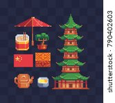 chinese culture. pixel art... | Shutterstock .eps vector #790402603
