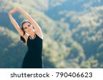 woman stretching arms before...   Shutterstock . vector #790406623