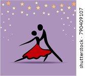 couple dancing tango  vector... | Shutterstock .eps vector #790409107