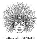 venetian mask illustration ... | Shutterstock .eps vector #790409383
