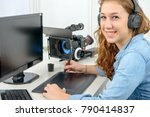 young woman designer using a... | Shutterstock . vector #790414837
