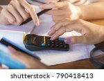 two business woman hand... | Shutterstock . vector #790418413