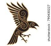 odins raven hand drawn in...   Shutterstock .eps vector #790430227