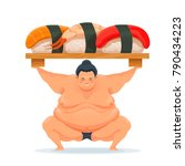 sumo man holding a tray with... | Shutterstock .eps vector #790434223