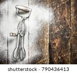 baking background. old tool for ... | Shutterstock . vector #790436413
