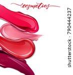 smears lipstick on white... | Shutterstock .eps vector #790444237