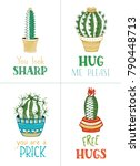 cactuses and succulents vector... | Shutterstock .eps vector #790448713