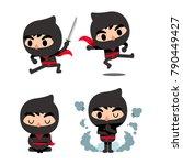 vector set of cute ninja... | Shutterstock .eps vector #790449427