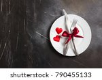 valentines day table setting... | Shutterstock . vector #790455133