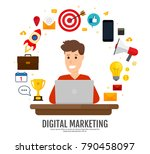 concept digital marketing.... | Shutterstock .eps vector #790458097