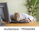 tired man fallen asleep slumped ... | Shutterstock . vector #790466083