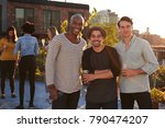 three male friends at a rooftop ... | Shutterstock . vector #790474207