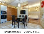 kitchen with appliances and a... | Shutterstock . vector #790475413