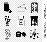 set of 9 pill filled and... | Shutterstock .eps vector #790485967
