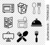 set of 9 dinner filled and... | Shutterstock .eps vector #790486183