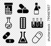 set of 9 pharmaceutical filled... | Shutterstock .eps vector #790487857