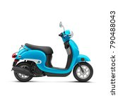 Blue Scooter Isolated On White...