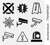 set of 9 caution filled and... | Shutterstock .eps vector #790489087