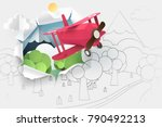 paper art of pink plane flying... | Shutterstock .eps vector #790492213