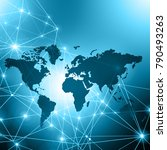 world map on a technological... | Shutterstock . vector #790493263