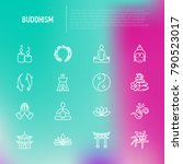 buddhism thin line icons set ... | Shutterstock .eps vector #790523017
