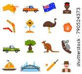 australia traveling icons set...   Shutterstock .eps vector #790524373