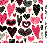 seamless pattern with hearts.... | Shutterstock .eps vector #790535503