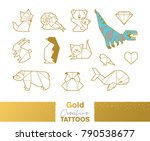 flash tattoo gold  silver and... | Shutterstock .eps vector #790538677