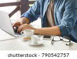 young blogger using laptop in... | Shutterstock . vector #790542757