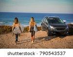 two beautiful surfer girls near ... | Shutterstock . vector #790543537