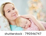 child sleeping. mother with... | Shutterstock . vector #790546747