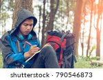 young man with notebook and pen ... | Shutterstock . vector #790546873