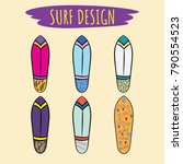 the image of a board of surf in ... | Shutterstock .eps vector #790554523