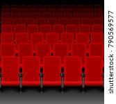 realistic cinema hall red seats.... | Shutterstock .eps vector #790569577