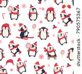 seamless pattern with penguins. ... | Shutterstock .eps vector #790575367