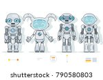 futuristic android robot... | Shutterstock .eps vector #790580803